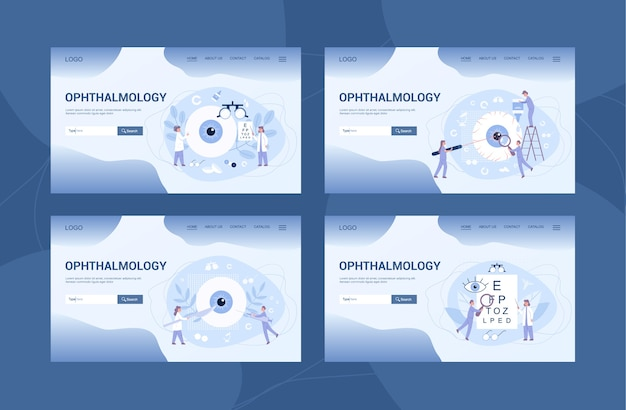 Ophthalmology clinic web banner or landing page et. idea of eye and vision care. oculist treatment set. eyesight examination and correction. Premium Vector