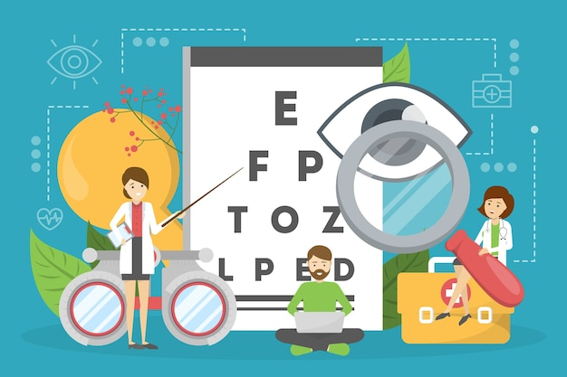 Ophthalmology concept. idea of eye care and vision Premium Vector