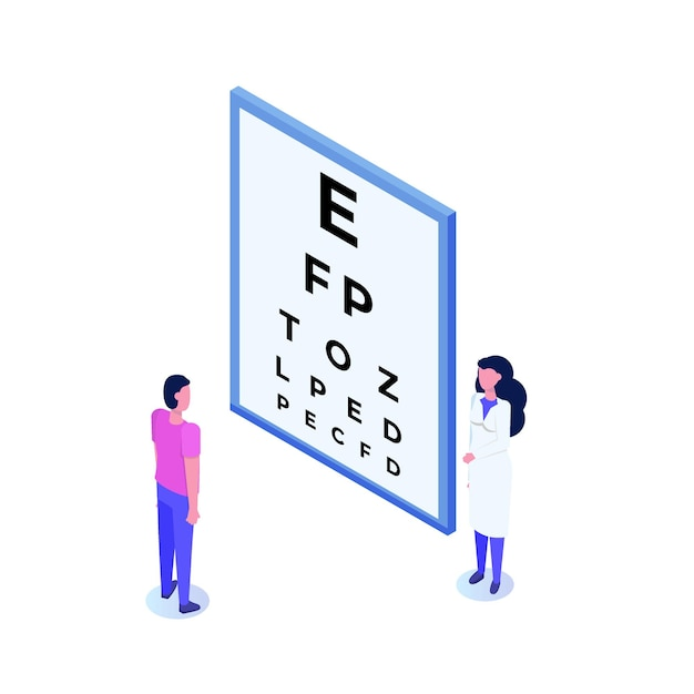 Ophthalmology concept. ophthalmologist checks patient sight. Premium Vector