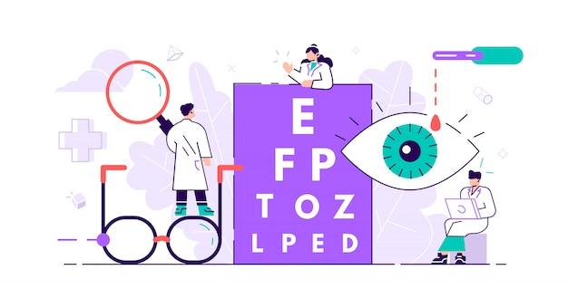 Ophthalmology concept. tiny eyes health. abstract lens view examination checkup Premium Vector