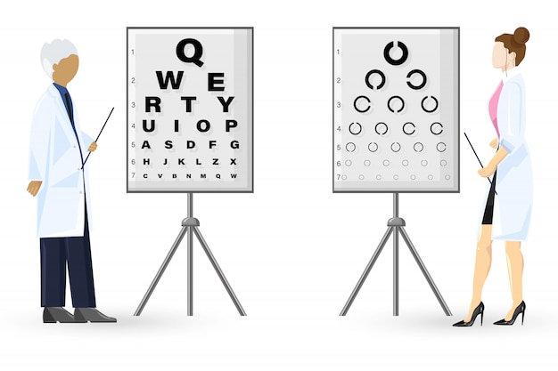 Ophthalmology examination flat style. doctors healthcare concept. template illustration Premium Vector