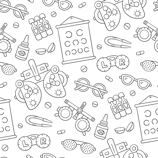 Ophthalmology hand drawn seamless pattern. contact lens, glasses, phoropter and more.