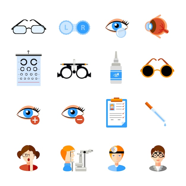Ophthalmology icons set Free Vector