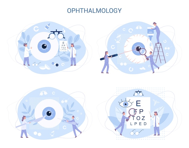 Ophthalmology . idea of eye and viion care. oculist treatment set. eyesight examination and correction. Premium Vector