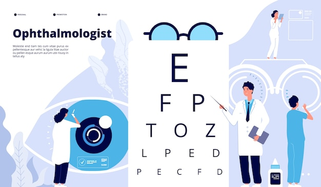 Ophthalmology landing page template Premium Vector