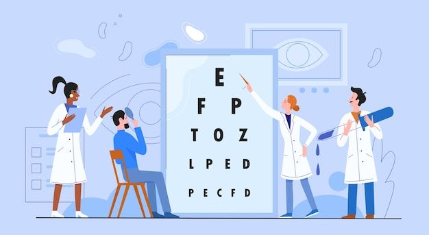 Ophthalmology medicine concept flat vector illustration, cartoon woman man doctor ophthalmologist characters checking patient vision sight Premium Vector