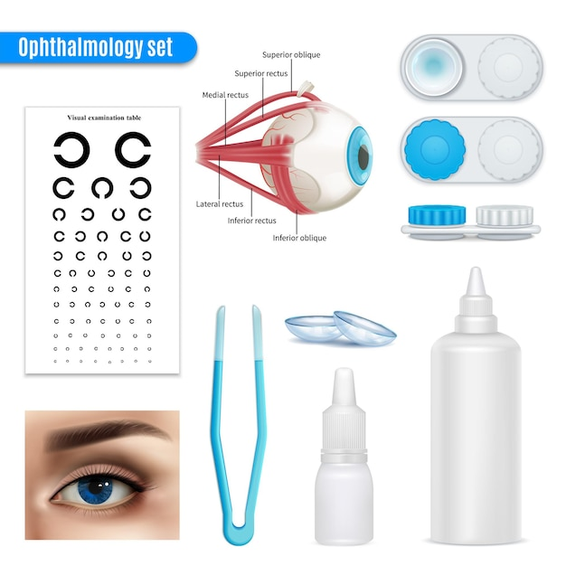 Ophthalmology vision correction eye anatomy realistic set with exam table and contact lenses accessories isolated Free Vector