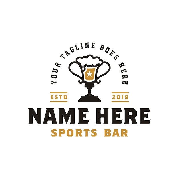 Ophy cup&beerヴィンテージレトロスポーツバーのロゴ Premiumベクター