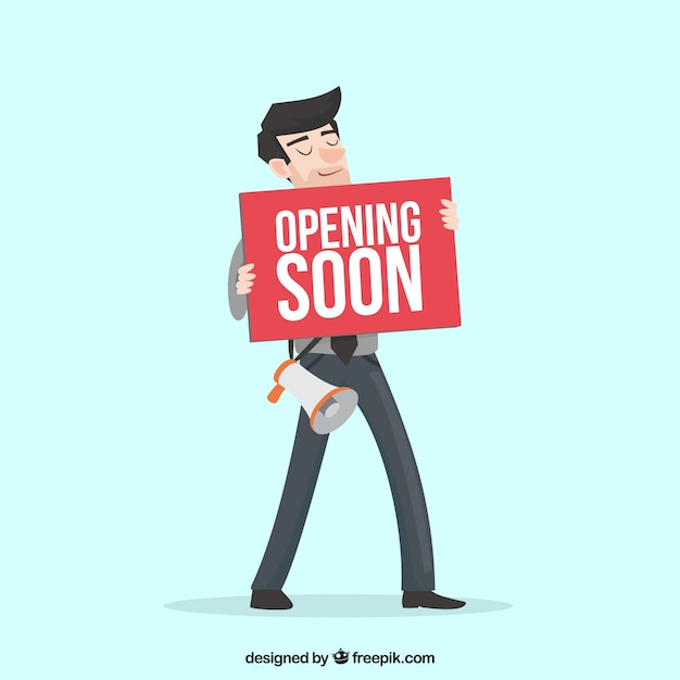 Opnening soon composition with flat design Free Vector