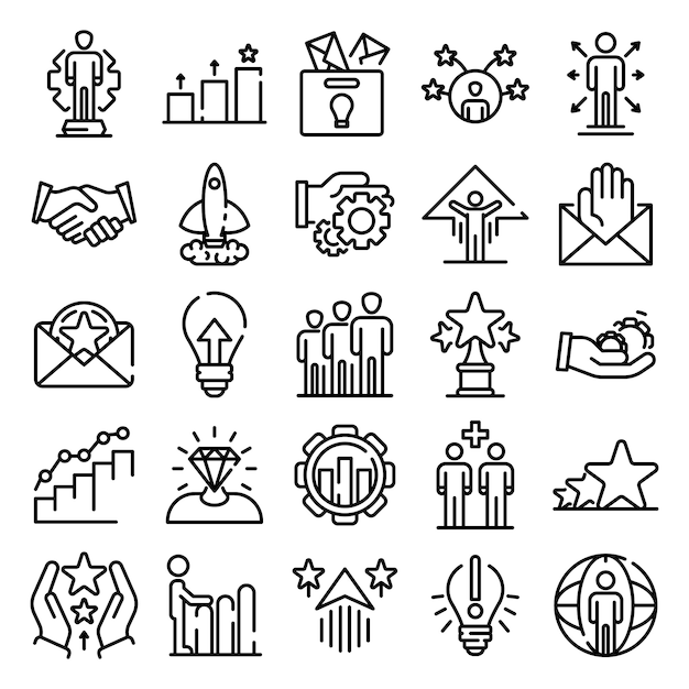Opportunity icons set, outline style Premium Vector