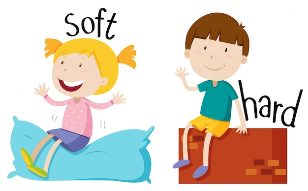 Opposite adjective with soft and hard Free Vector