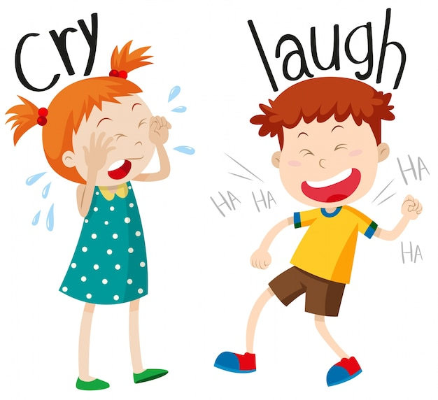 Opposite adjectives cry and laugh Free Vector