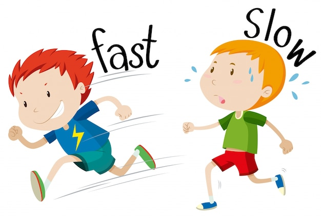 Opposite adjectives fast and slow Vector | Free Download