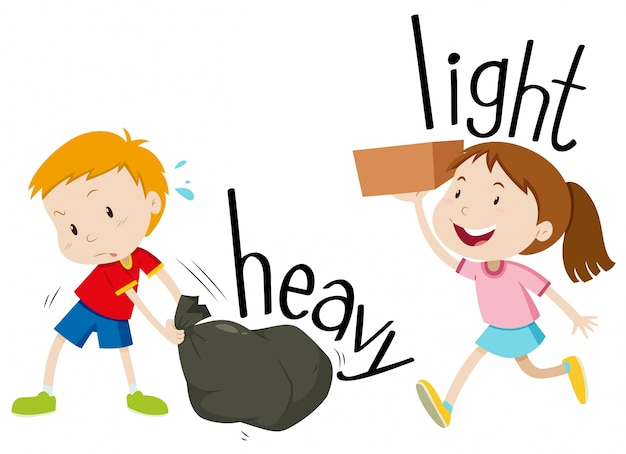 opposite adjectives heavy and light vector free download