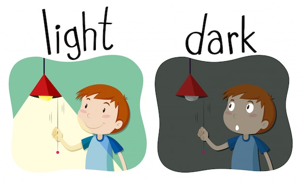 Opposite adjectives light and dark Free Vector