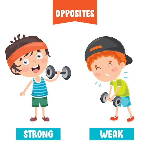 Opposite adjectives with cartoon drawings Premium Vector