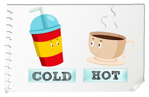 Hot Coffee Cup >> Opposite adjectives with cold and hot Vector | Free Download