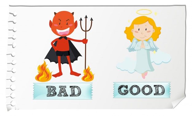 Opposite adjectives with good and bad Free Vector