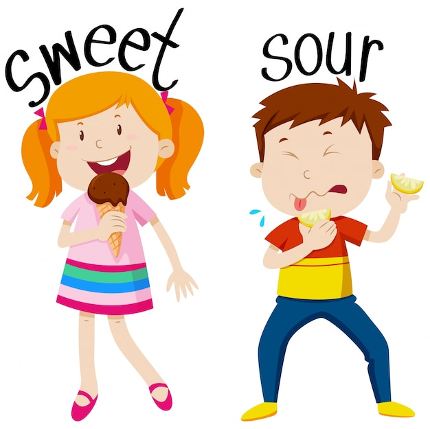 Opposite adjectives with sweet and sour Free Vector