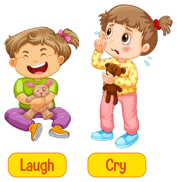 Opposite adjectives words with laugh and cry Free Vector