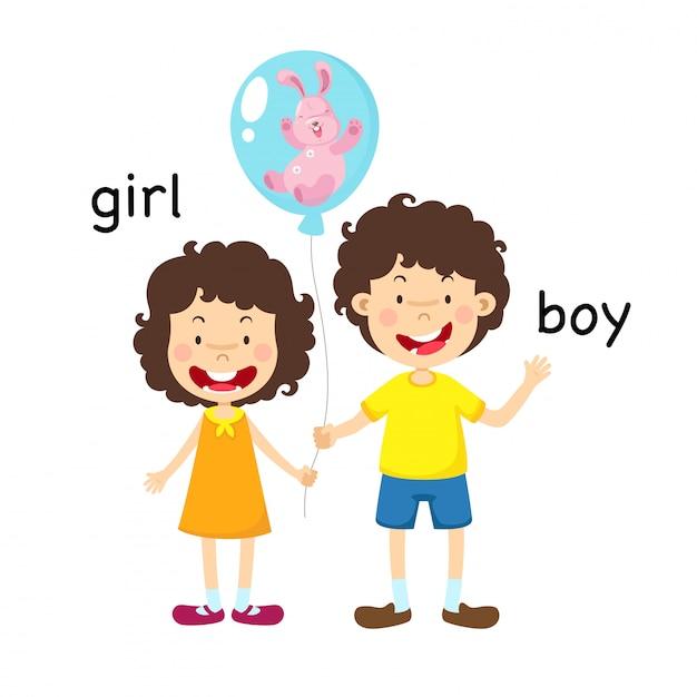 Opposite boy and girl illustration Premium Vector