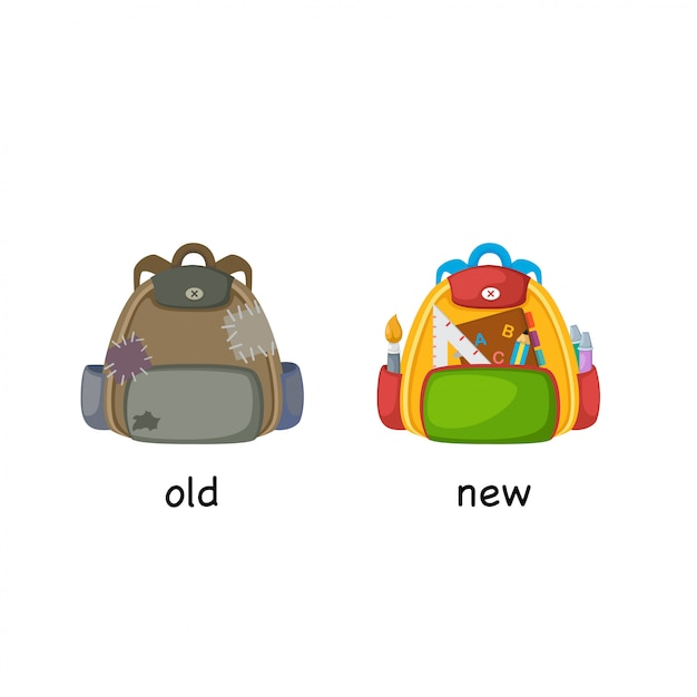 Opposite old and new vector illustration Premium Vector