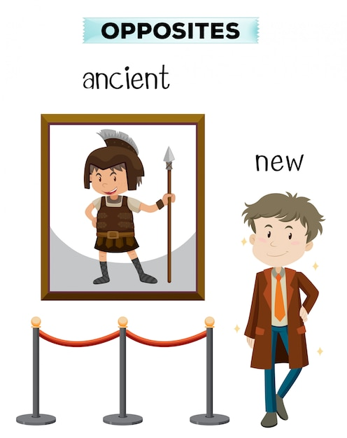Opposite word of ancient new Free Vector