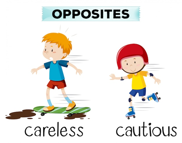 Opposite word of careless and cautious Free Vector