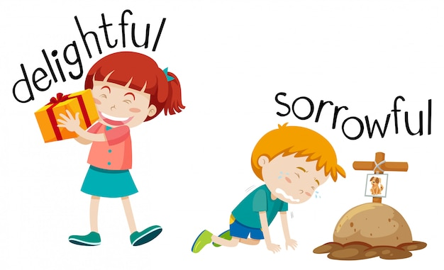 Opposite word of delighyful and sorrowful Free Vector