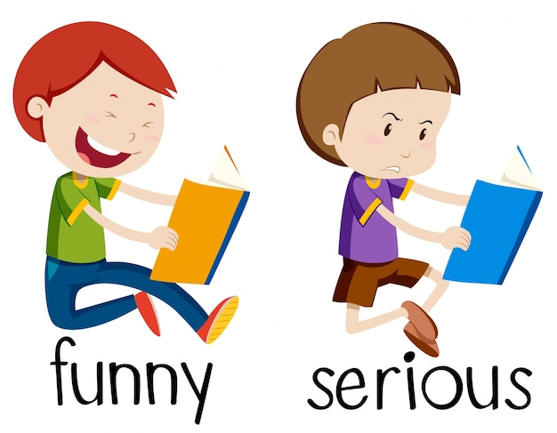Opposite wordcard for funny and serious Free Vector