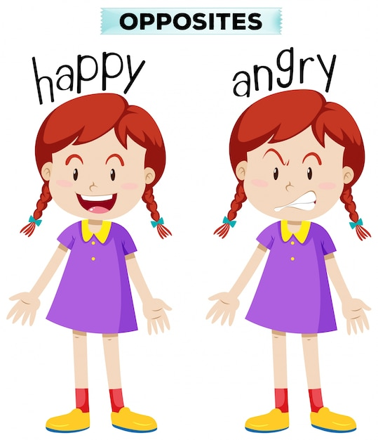 Opposite wordcard for happy and angry Free Vector