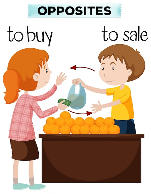 Opposite words for buy and sale Free Vector