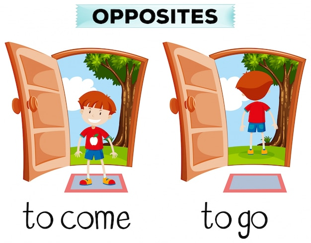 Opposite words for come and go Free Vector