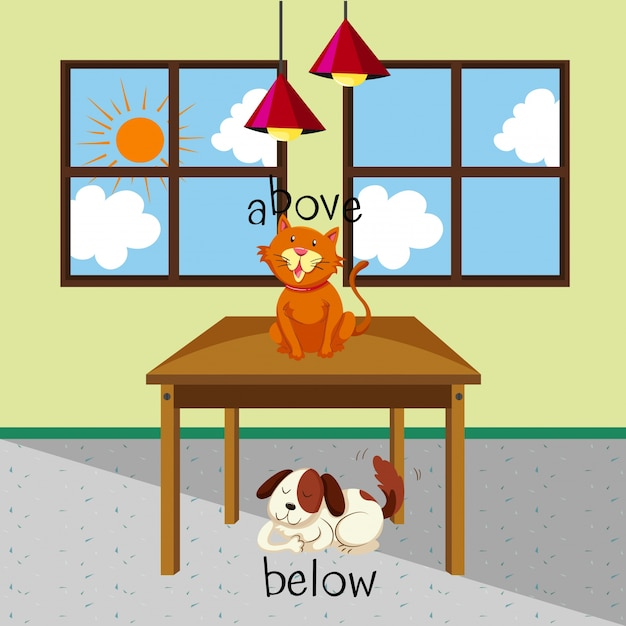 Opposite words for above and below with cat and dog in the room Free Vector