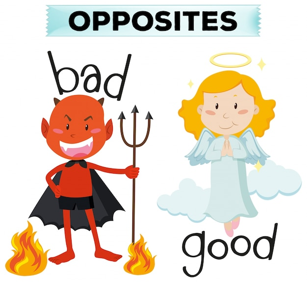 Opposite words with bad and good illustration Free Vector