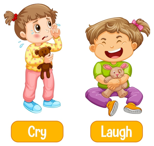 Opposite words with cry and laugh Free Vector