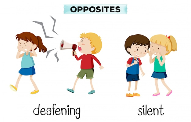 Opposites deafening and silent Free Vector