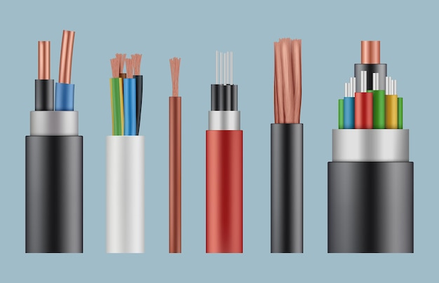 Optical cables. wire fiber cord structure electrical line wicker  realistic template. Premium Vector