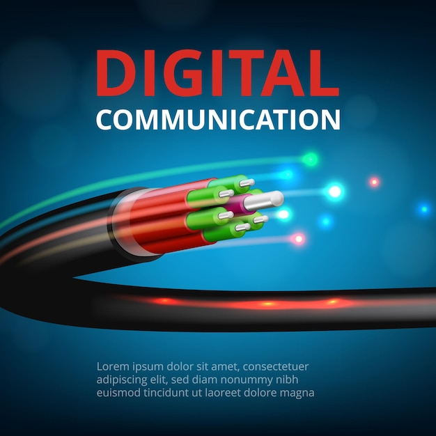 Optical fast connection. future technology cyber internet communication  realistic concept background. Premium Vector