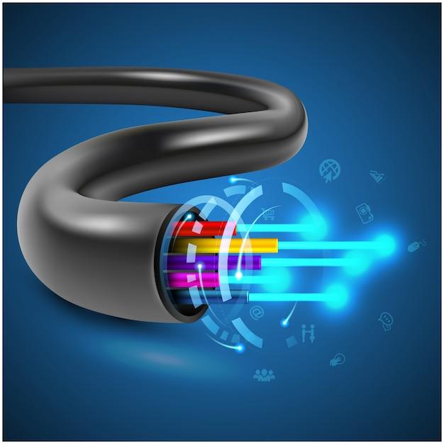 通信技術と接続要素のための光ファイバーケーブルのコンセプト Premiumベクター