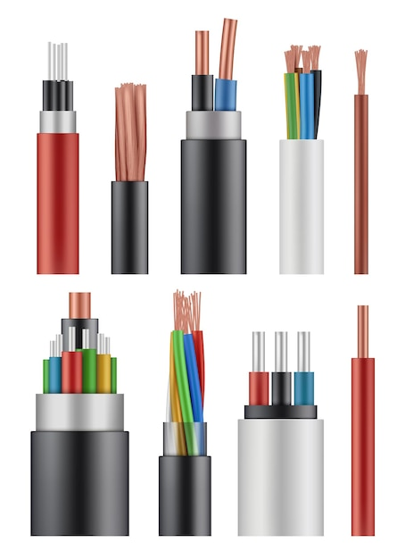Optical fiber cord. electricity wireless energy power cable close up  realistic picture. Premium Vector