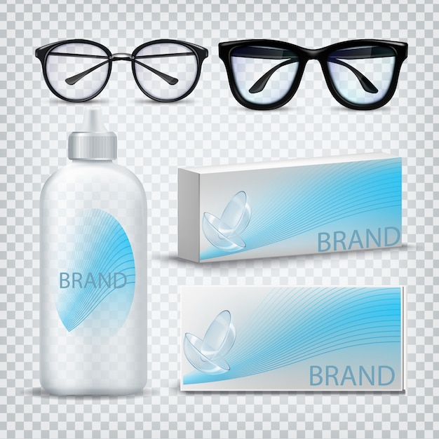 Optical glasses and contact lenses Premium Vector