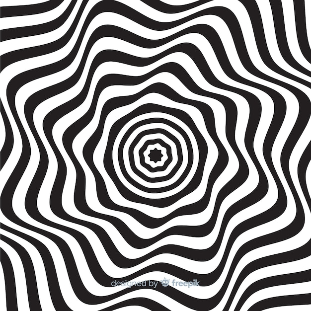 Optical illusion wavy flat background Free Vector