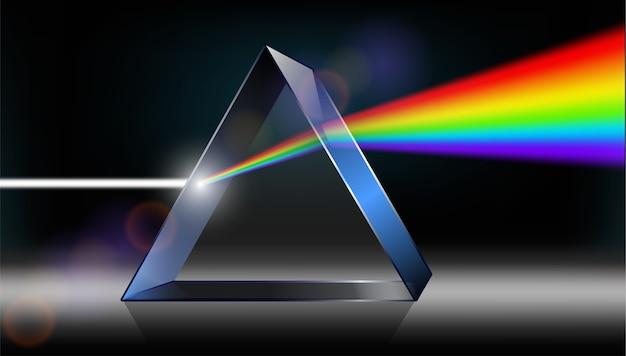 光学物理学。白色光がプリズムを照らしています。 Premiumベクター