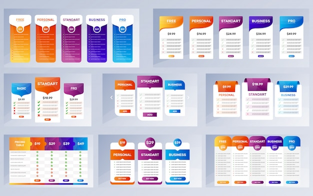 Option banners set. pricing tables collection Premium Vector