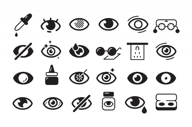 Optometry icon. ophthalmology symbols eye doctor lens optician line collection Premium Vector