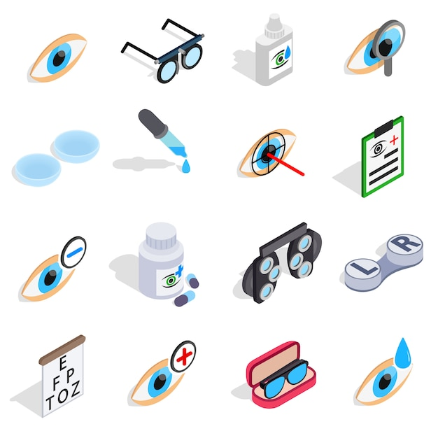 Optometry icons set in isometric 3d style. care and eye health set collection vector illustration Premium Vector