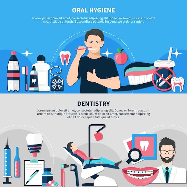 Banner di igiene orale e odontoiatria Vettore gratuito