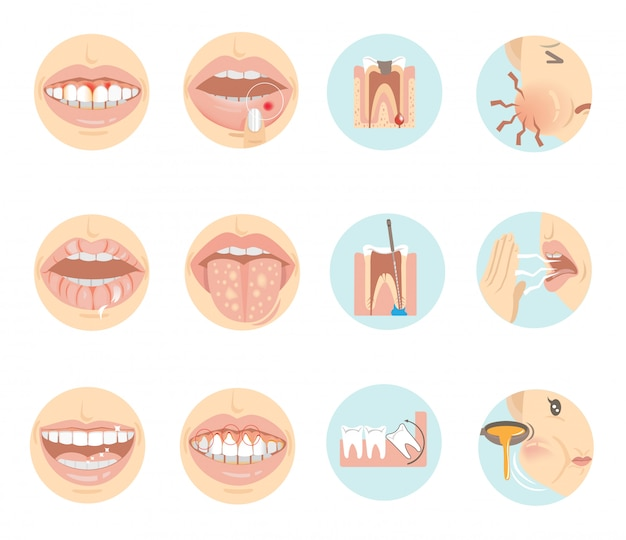 Oral problems.  teeth and mouth in a circle. Premium Vector