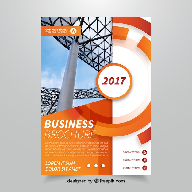 Orange abstract business brochure Free Vector